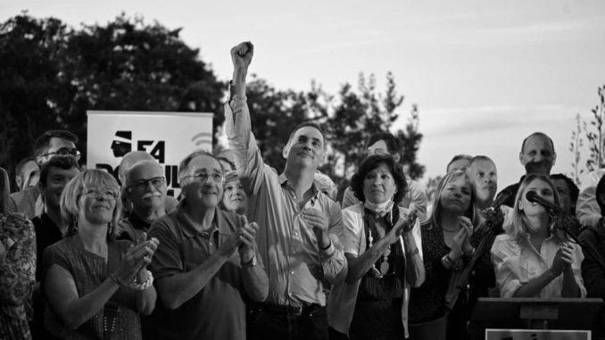 Gilles Simeoni et ses colistiers lors de son dernier meeting de campagne.
